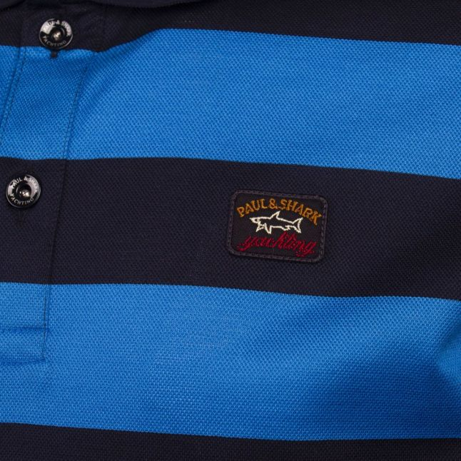 Mens Navy/Blue Stripe Custom Fit S/s Polo Shirt