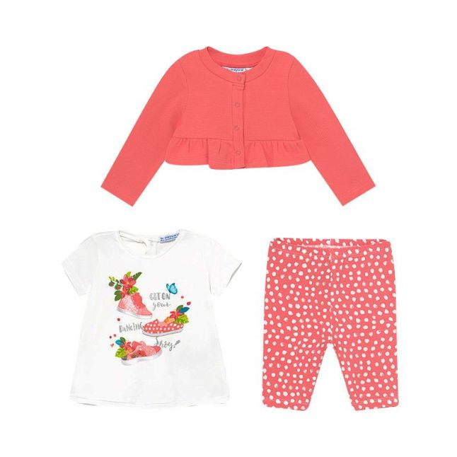 Infant Coral 3 Piece Leggings Outfit Set
