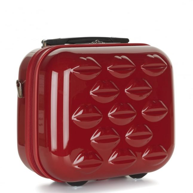 Womens Red Hard Sided Lips Vanity Case