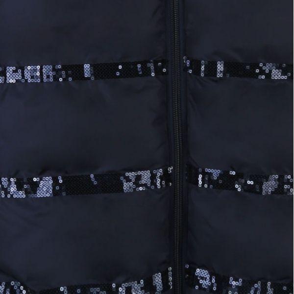Girls Navy Sequin Detail Padded Coat