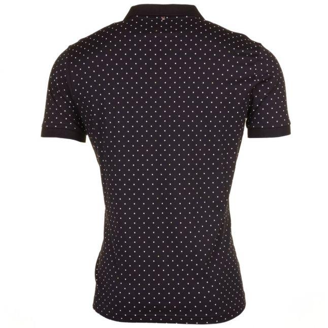 Mens Black Polka Dot S/s Polo Shirt