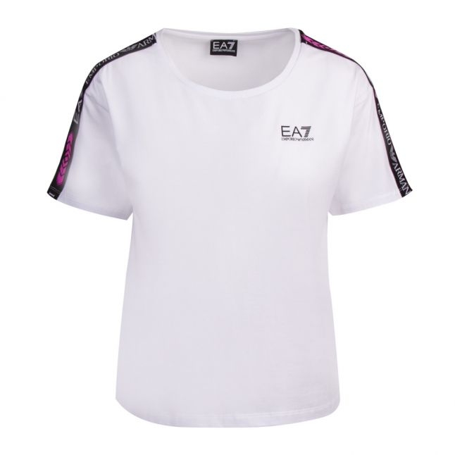 Womens White Logo Tape Detail S/s T Shirt