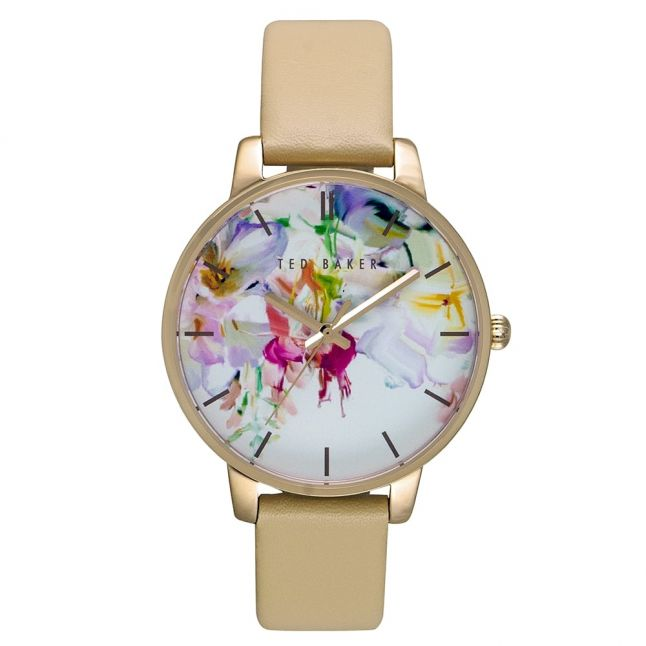 Womens Floral Dial Brown Leather Strap Watch