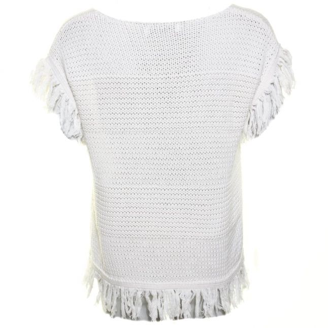 Womens Off White Fringed Knit