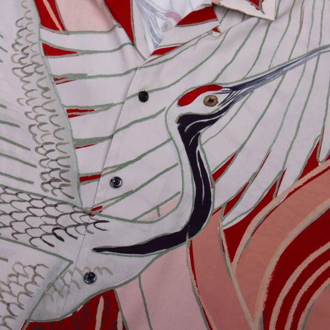 Mens Ecru Efab Print Casual S/s Shirt
