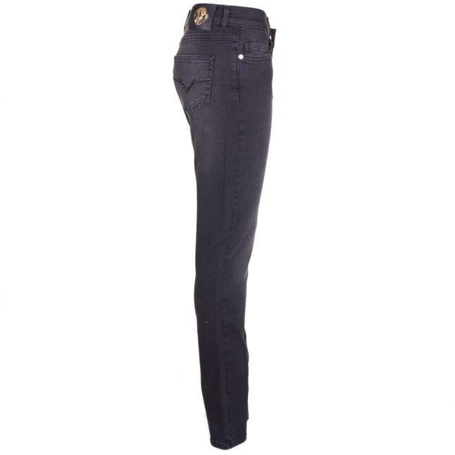 Womens Black Wash Embellished Back Pocket Skinny Fit Jeans