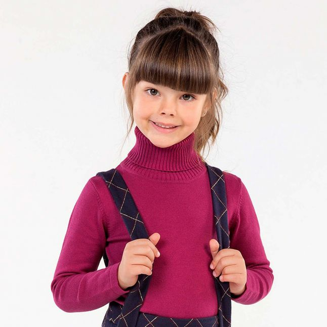 Mayoral Girls Cherry Roll Neck Knitted Top