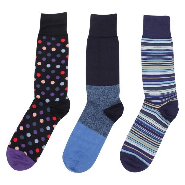 Mens Navy Stripe & Spots 3 Pack Socks