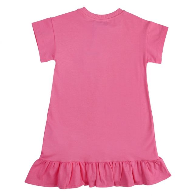 Girls Dark Pink Logo Ruffle Trim Dress