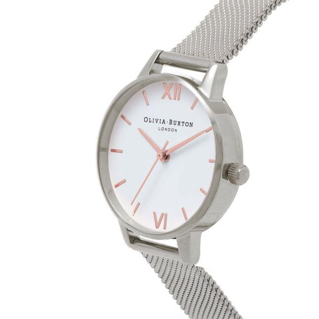 Silver/Rose Gold Midi Dial Mesh Watch