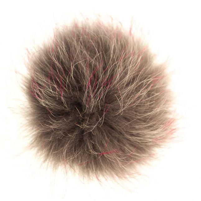 Bklyn Womens Grey & Pink Fur Pom