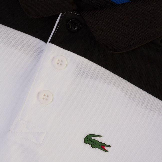 Boys Black & White Block Stripe S/s Polo Shirt