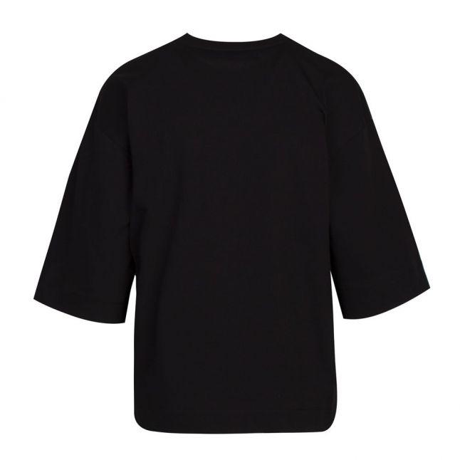 Womens Black Rubber Heart S/s T Shirt