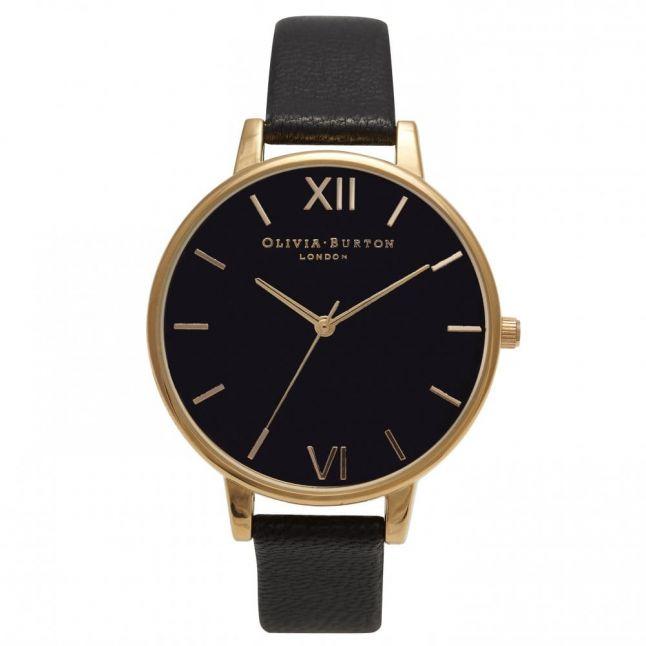 Womens Black Dial & Gold Big Dial Watch