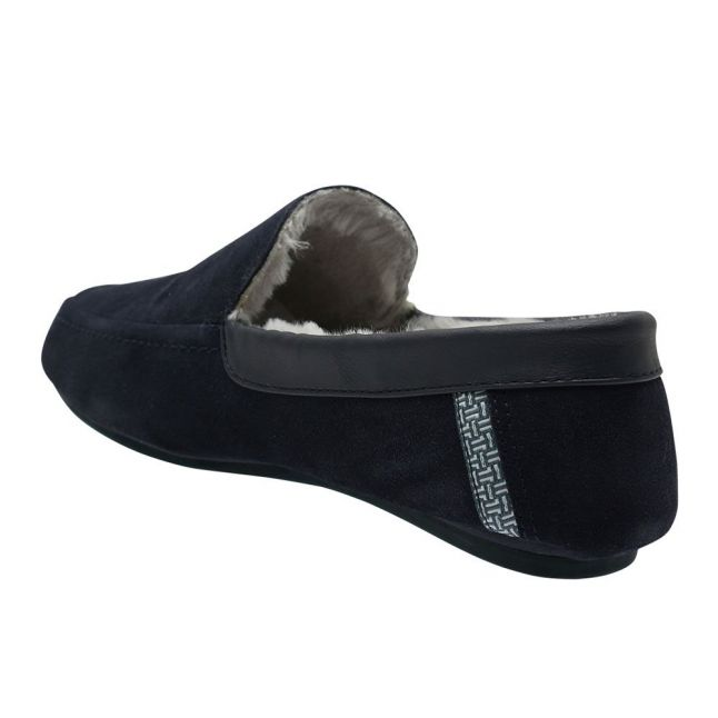 Mens Navy Valant Moccasin Slippers