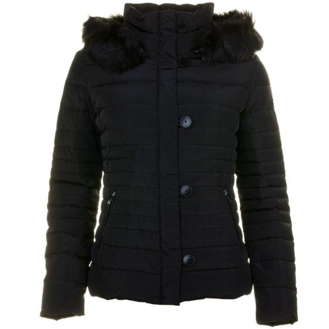 Womens Black Fur Hooded Duck Down Jacket