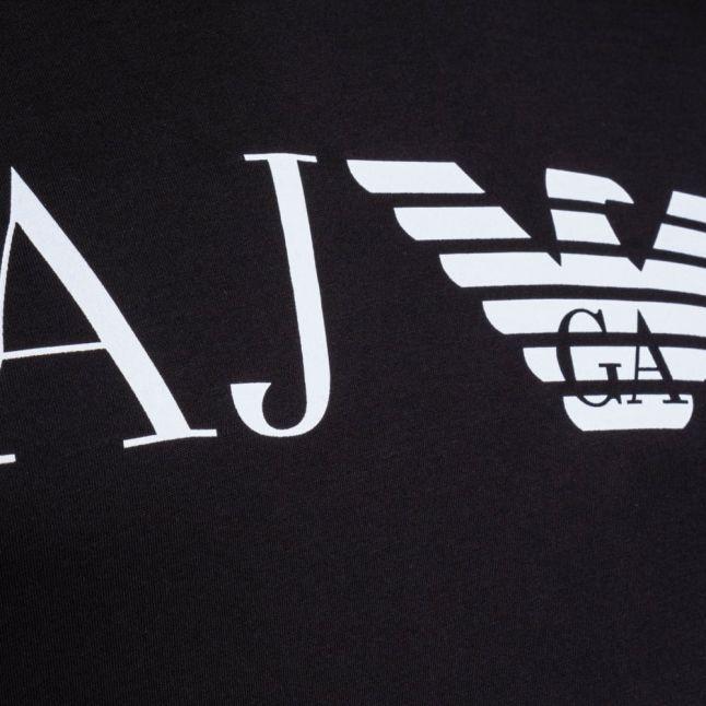 Mens Black Eagle Chest Logo Slim Fit S/s Tee Shirt
