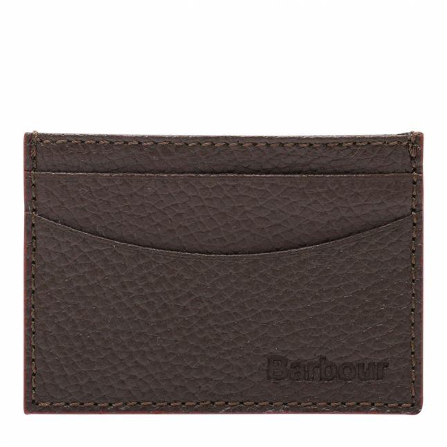 Mens Dark Brown Grain Leather Card Holder
