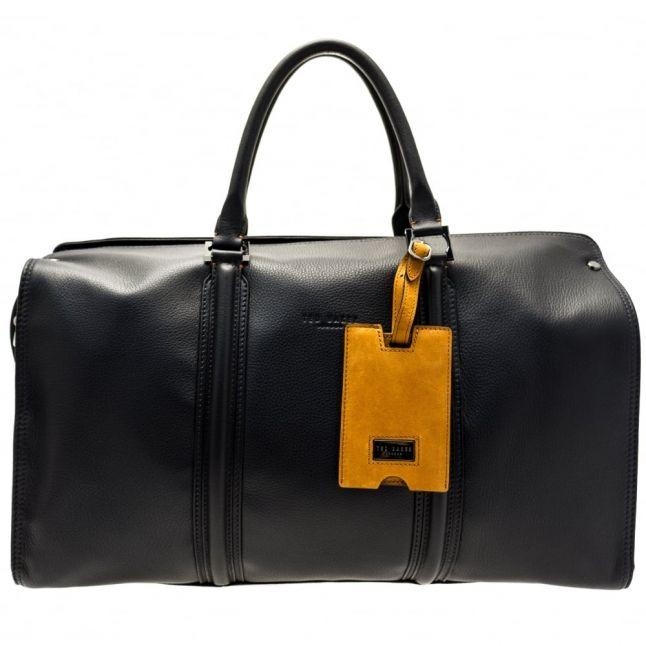 Mens Navy Dogtag Leather Holdall Bag