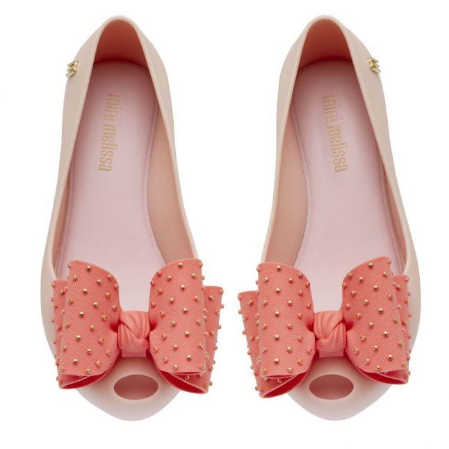 Kids Pink Contrast Ultragirl Dot Bow Shoes (10-3)