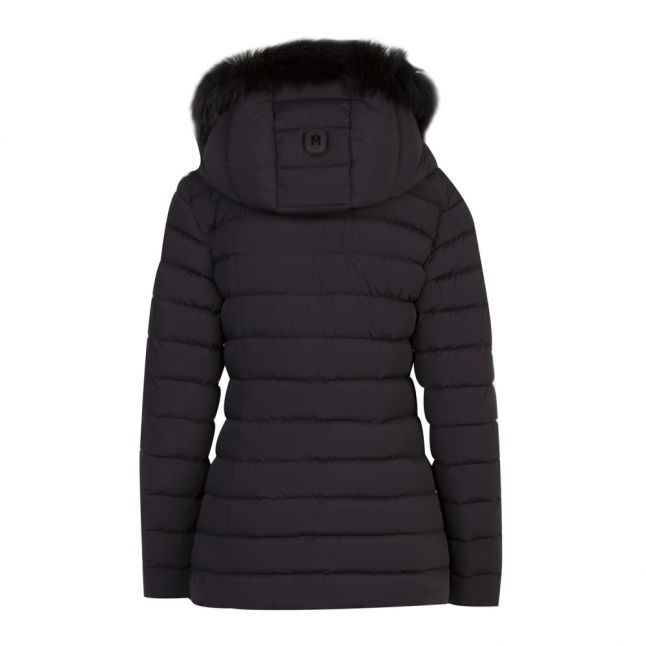 Womens Black Kadalina Fur Hooded Down Jacket