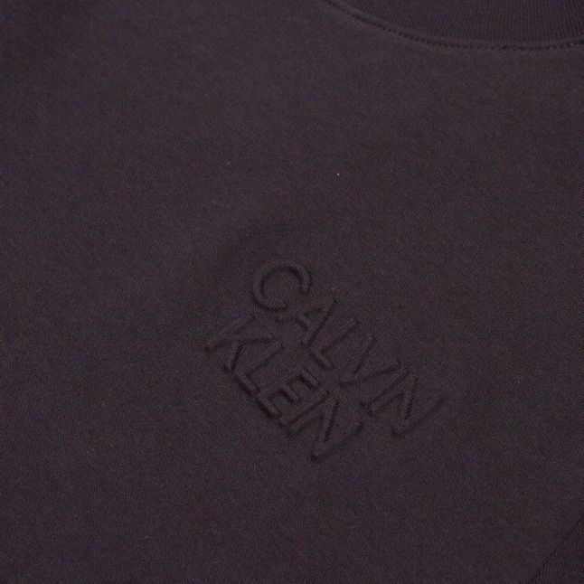 Mens Black Embossed Chest Logo S/s T Shirt