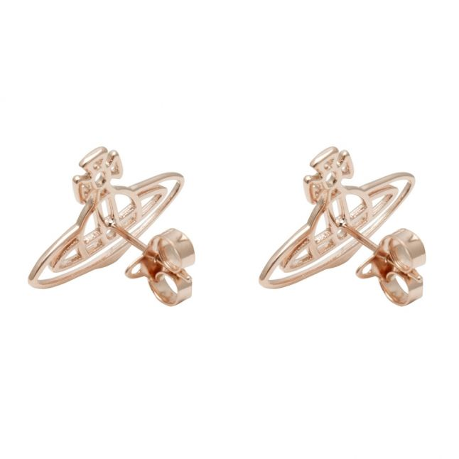 Womens Rose Gold Thin Lines Flat Orb Stud Earrings
