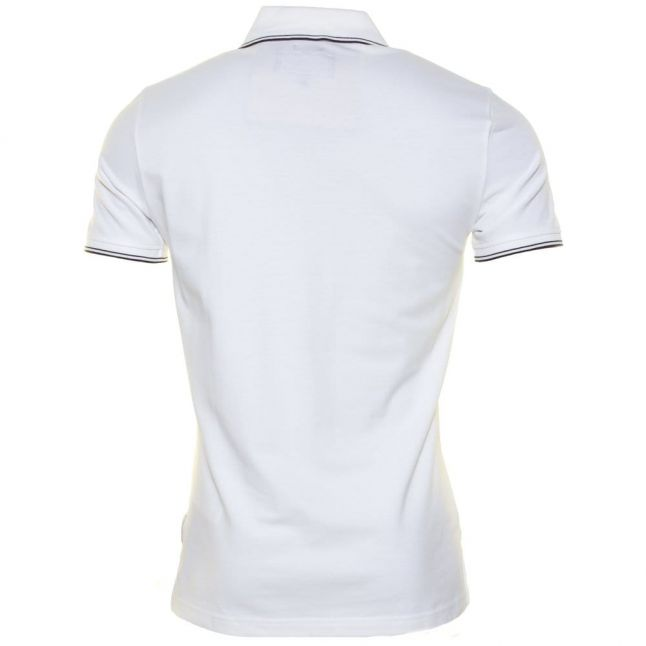 Mens White Extra Slim Tipped S/s Polo Shirt