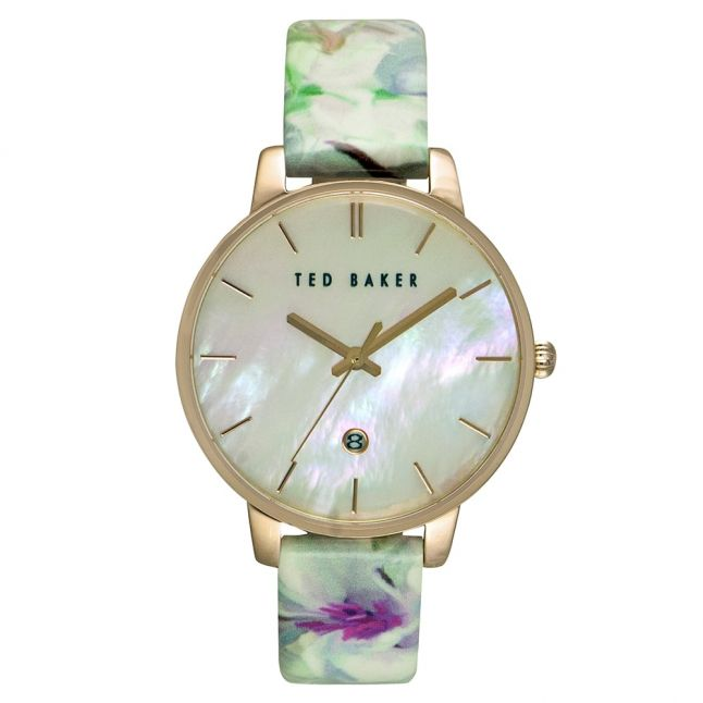 Womens Mother Of Pearl Dial Floral Strap Watch