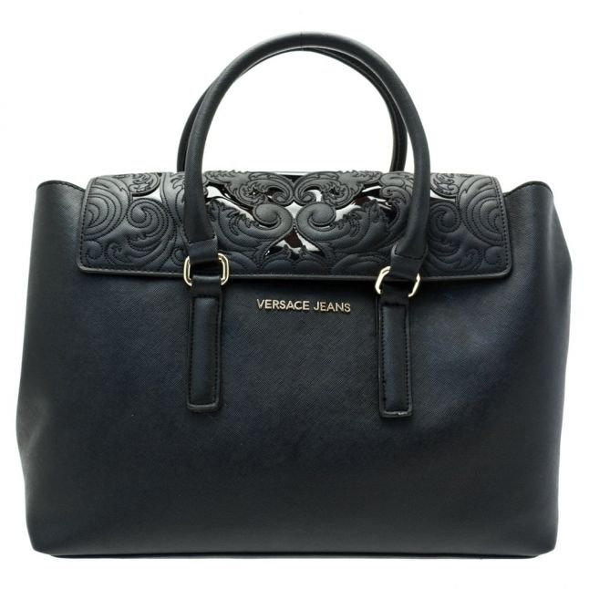 Womens Black Stitch Patterned Tote Bag