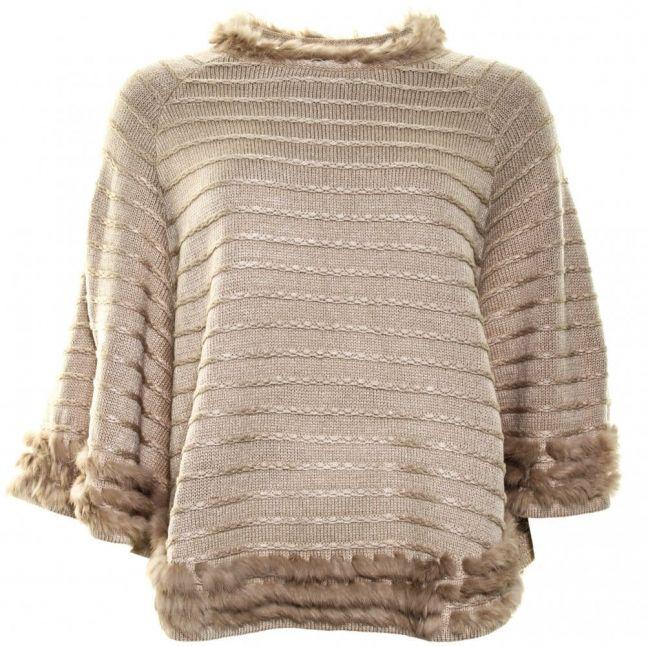 Womens Beige Fur Poncho