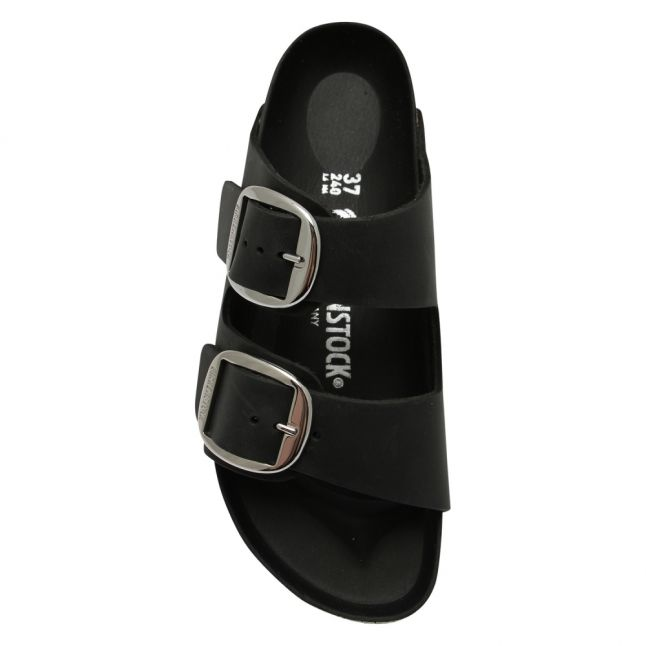 Womens Black Oiled Leather Arizona Big Buckle Sandals