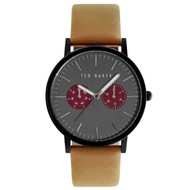 Mens Grey & Red Dial Brown Multifunctional Strap Watch