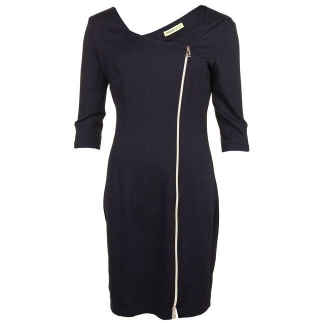 Womens Black Off Centre Zip Detail Dress