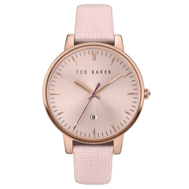 Womens Pink & Rose Gold Saffiano Leather Strap Watch