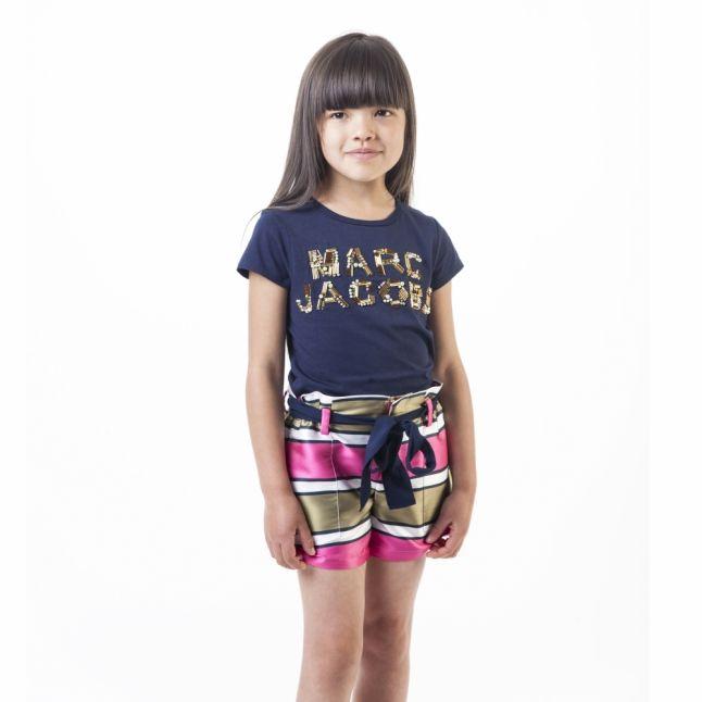 Girls Fuschia Stripe Sateen Shorts