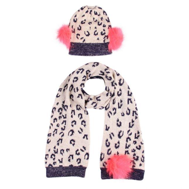 Girls Navy Pom Animal Hat & Scarf Set