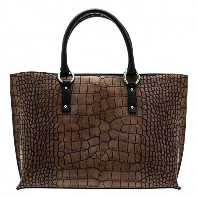 Womens Brown Croc Effect Shopper Bag