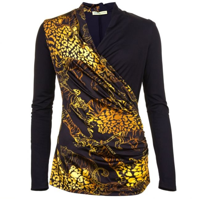 Womens Black Animal Patterned Wrap Over Top