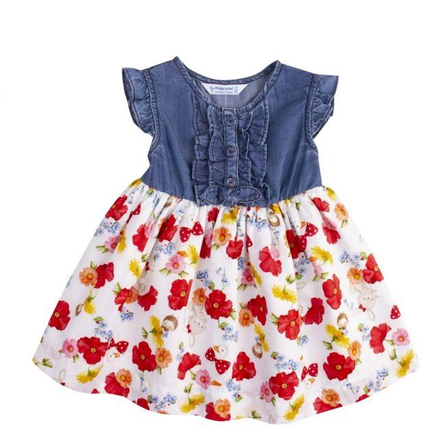 Infant Blue/Red Denim & Poppy Dress