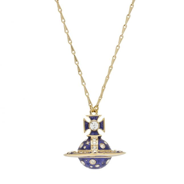 Womens Gold/Cobalt Crysta Dalila Orb Pendant Necklace