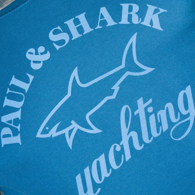Paul & Shark Mens Blue Shark Fit Tonal Logo S/s Tee Shirt