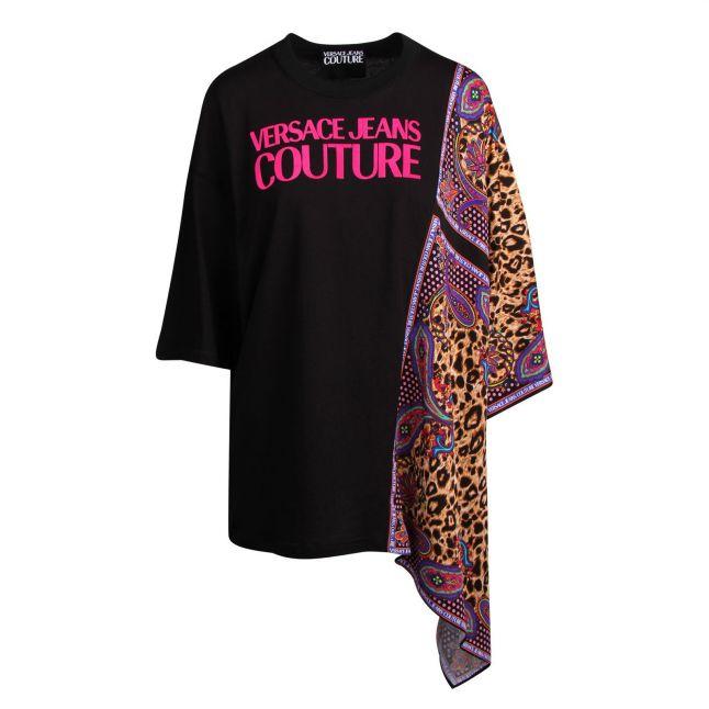 Womens Black Draped Leopard S/s T Shirt