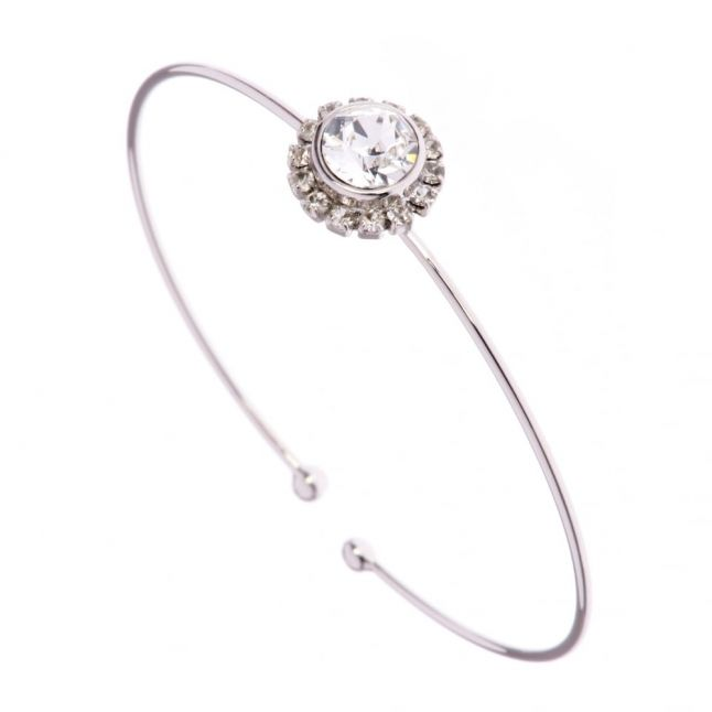 Womens Silver & Clear Crystal Sappelle Fine Cuff Bracelet