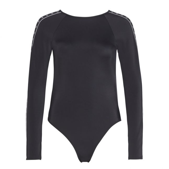 Womens Black Logo Tape L/s One Piece Swimsuit