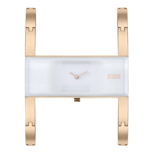 Womens White Dial Rose Gold Akiko Bracelet Watch