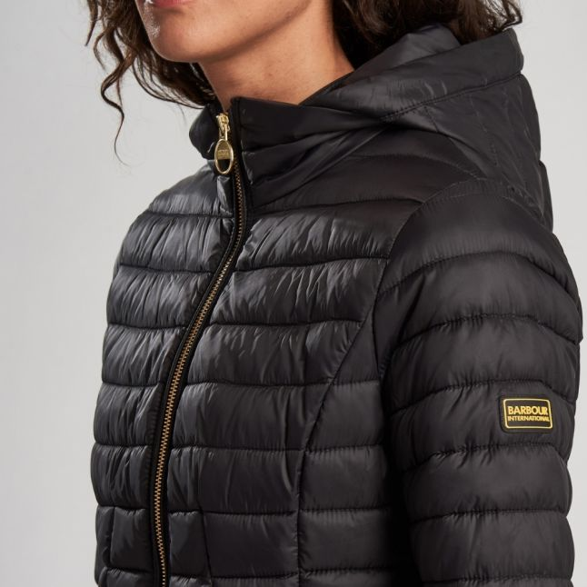 Womens Black Score Hooded Quilted Jacket