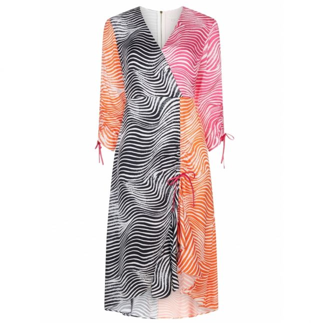 Womens Ivory Multi Wizzoh Zebra Rouched Midi Dress