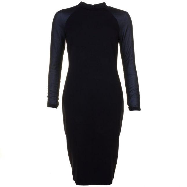 Womens Black Wrenti Fitted Rib L/s Dress