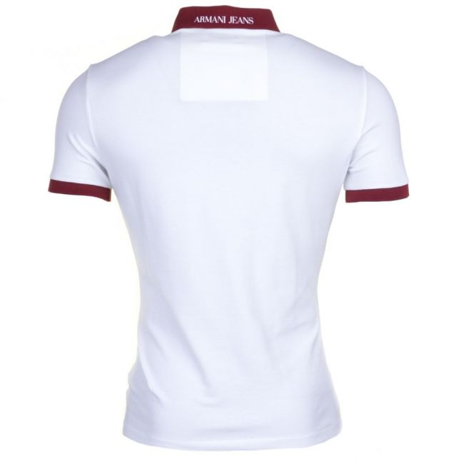 Amarni Jeans Mens White Contrast Collar S/s Polo Shirt